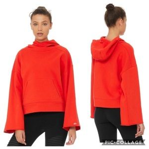ALO Yoga Low Key Hoodie Pullover Sweater Red